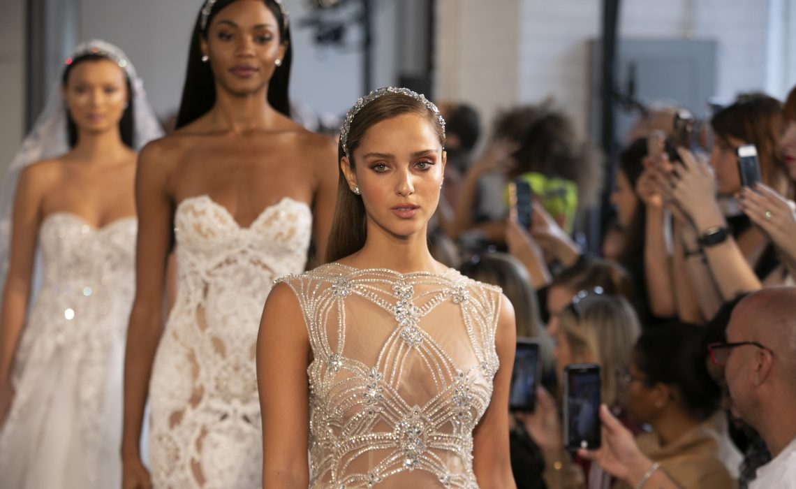 NEW YORK, Oct 5: These Images are from the Berta 2019 Fall ruway show at Industria Studio during New York Bridal Fashion Week on October, 5, 2018,  (Photo by Collin Pierson )