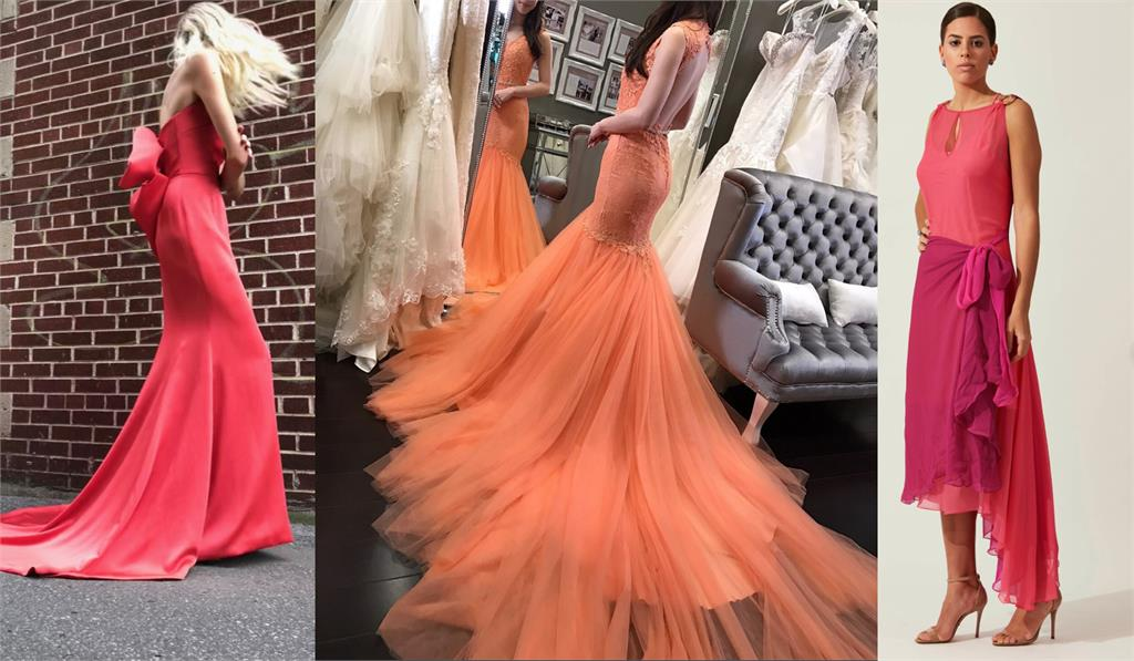 "Pantone's Colour For 2019 ""Living Coral"" In Full Bridal Effect for Destination Wedding Blog Adriana Weddings, RITA VINIERIS / WINNIE COUTURE / MAISON ALEXANDRINE"