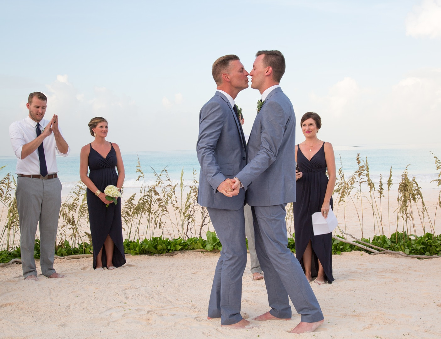 Brandon & Scott's Simple Elegant Beach Vow Renewal In Harbour Island, Bahamas, Photography by Paola Wells Photography for Destination Wedding Blog Adriana Weddings