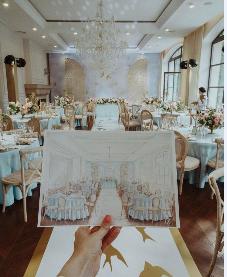 Stylish & Elegant Wedding Sketches That You Need To See Now! Art by Elen Sketches for Destination Wedding network Adriana Weddings