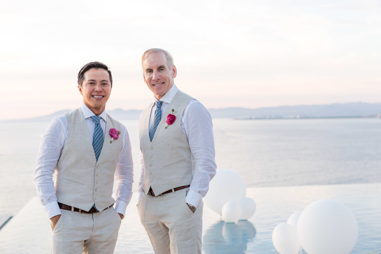 Carlo & Ron's Modern Tropical White Wedding In Puerto Vallarta, Photography by Joann Arruda Photography for Destination wedding network Adriana Weddings