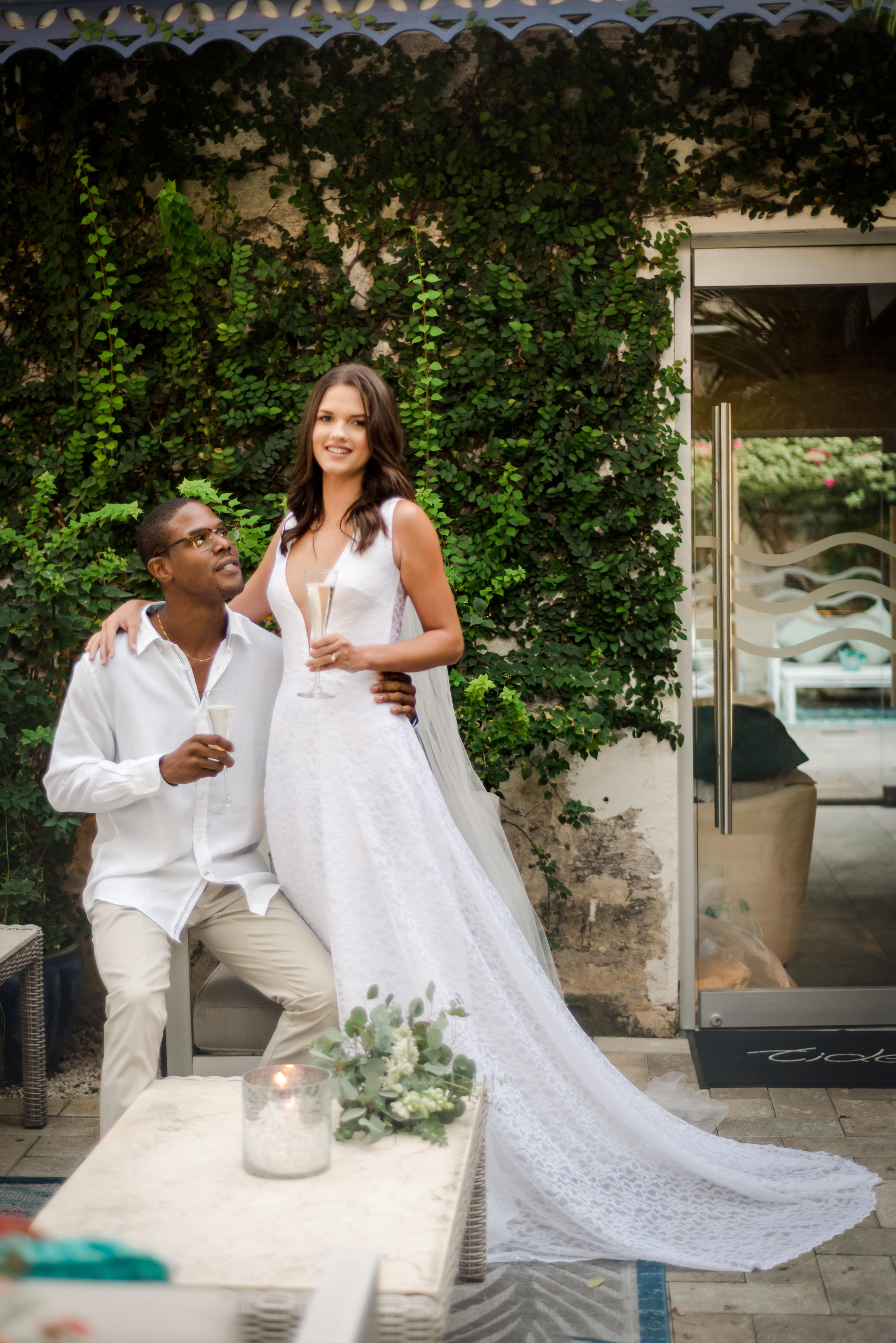 Styled Elopement at Tides Restaurant Barbados, Photography by Sofie Warren, Designer Wedding Dress by Jaye Applewaite for Luxury Destination Wedding Blog Adriana Weddings