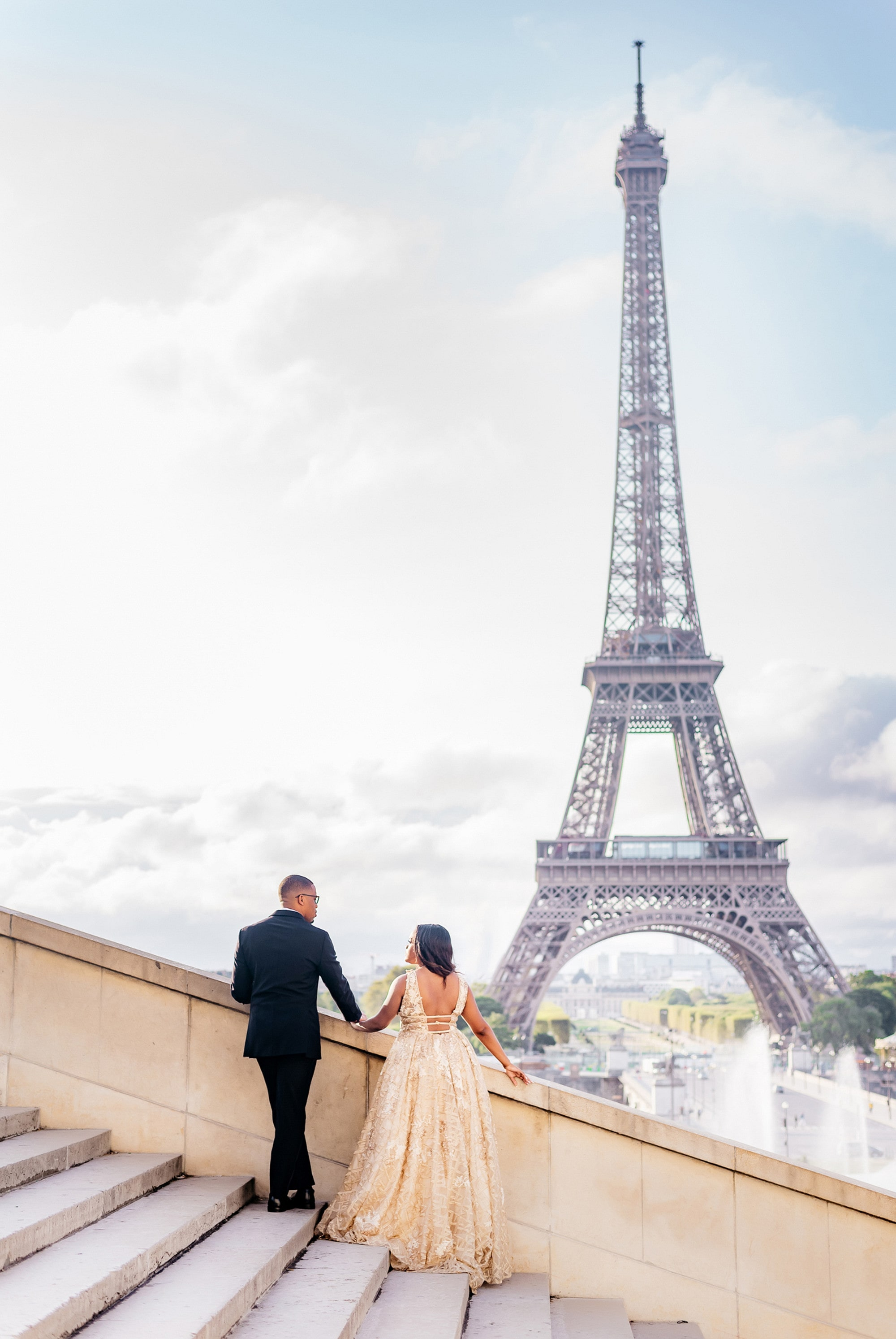 Leah & Olabode's Dreamy Destination Proposal In Front of the Eiffel Tower, Photography by DO IT PARIS WAY for Luxury Destination Wedding blog Adriana Weddings