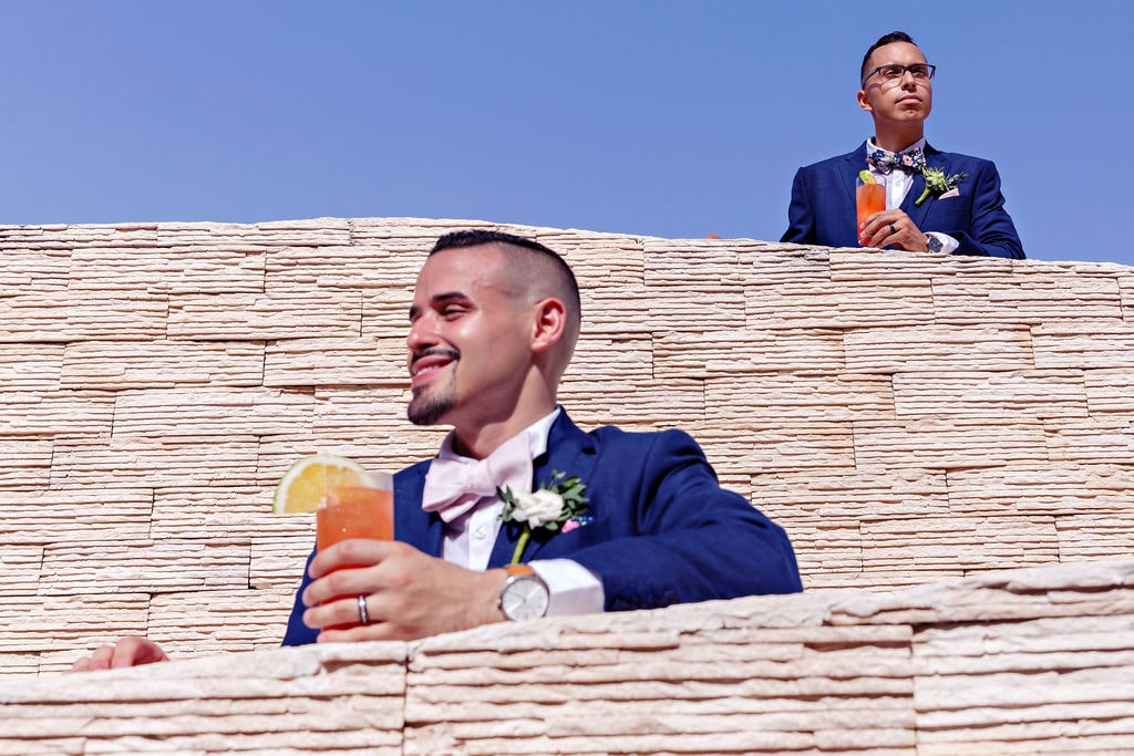 Two Matching Grooms For Their Tropical Destination Wedding At Royalton Riviera Cancun Sky Terrace, Photography by Quetzal Wedding Photo for Luxury Destination Wedding network Adriana Weddings