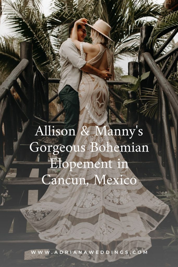 Allison & Manny's Gorgeous Bohemian Elopement in Cancun, Mexico , Photography by Amber Dawn Photography for Luxury Destination Wedding blog Adriana Weddings