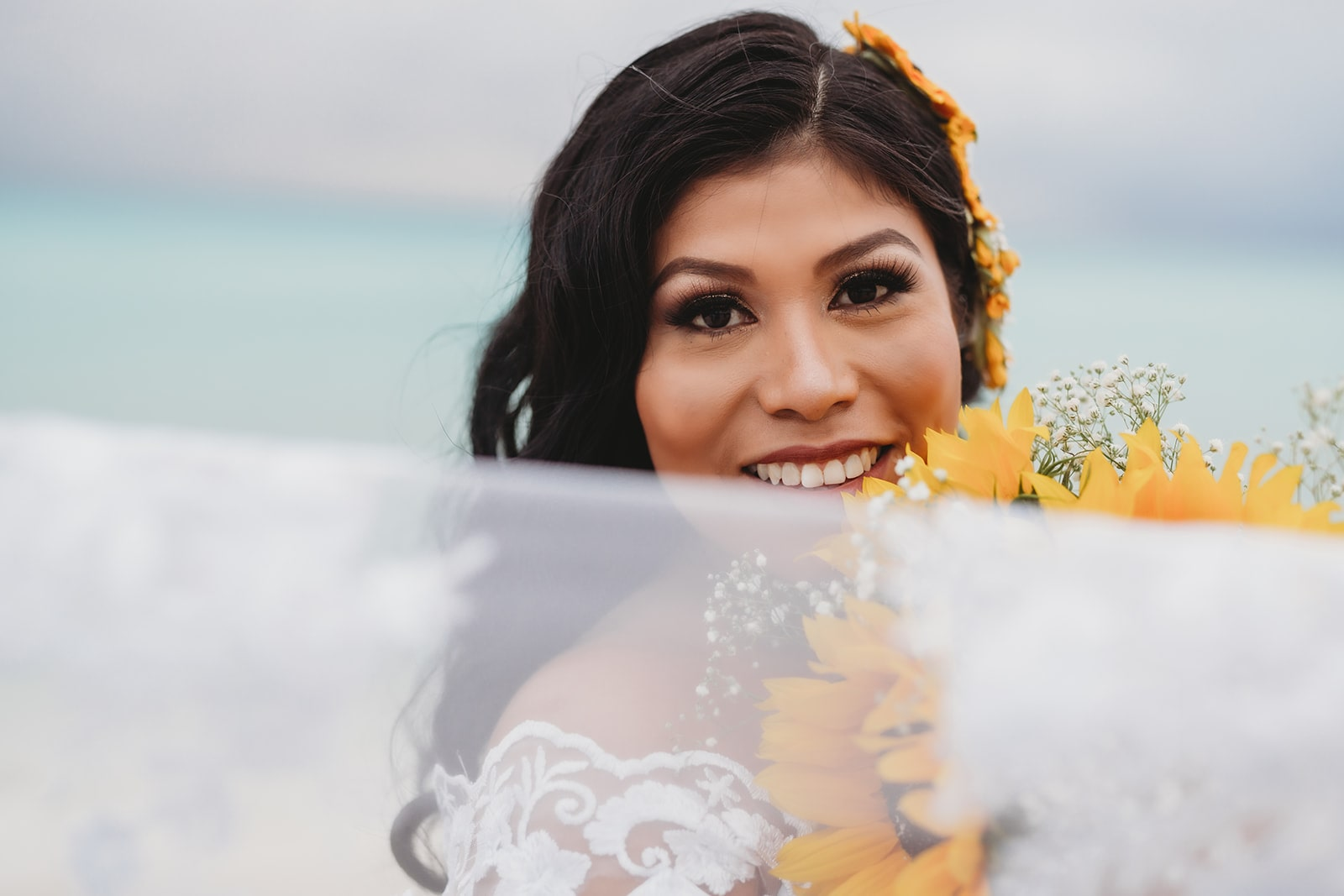 Sunflowers Pop Against Playacar Beach in Playa Del Carmen for this Sweet Covid-19 Couple, Photography by Dream Bella Photography for Caribbean Wedding Blog Adriana Weddings